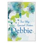 Floral Print Custom Name Birthday Card-Sister Greeting Card