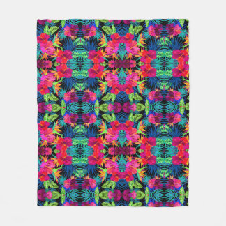 "Floral Printed Fleece Blanket, 50""x60"""