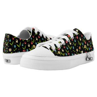 floral printing with black bottom low tops