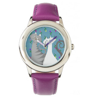 Floral Purple Adorable Love Cats Romantic Girly Wristwatch
