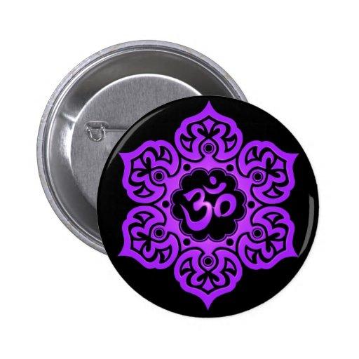 Floral Purple and Black Aum Design Pinback Button