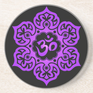 Floral Purple and Black Aum Design Coaster