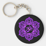 Floral Purple and Black Aum Design Basic Round Button Key Ring