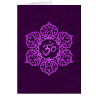 Floral Purple Aum Design Greeting Card