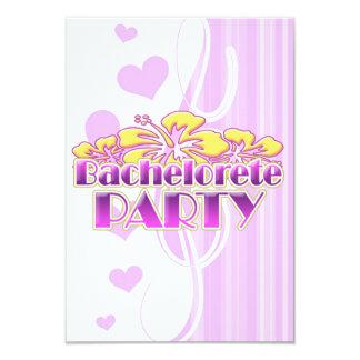 "floral purple bachelorette party yellow flowers 3.5"" x 5"" invitation card"