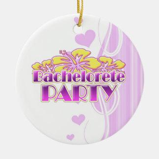 floral purple bachelorette party yellow flowers christmas ornament