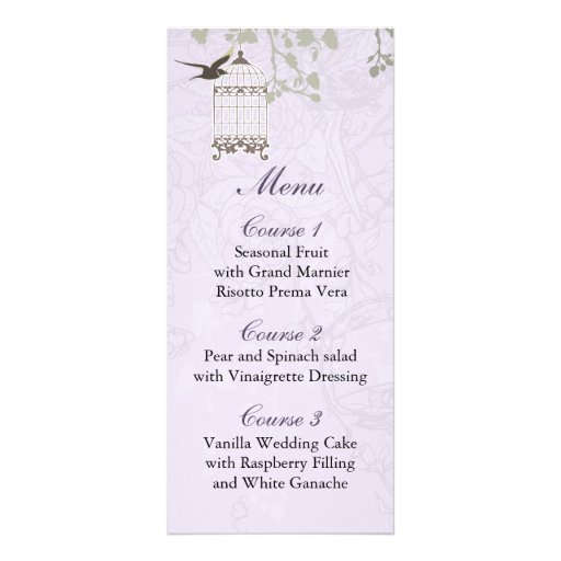 floral purple bird cage, love birds Menu Cards Rack Card Template