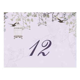 floral purple bird cage, love birds table numbers postcard