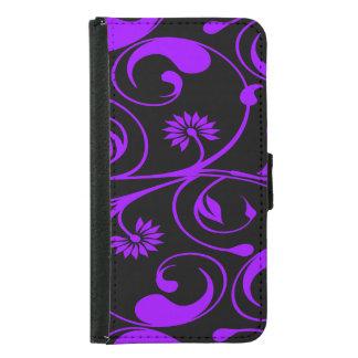 Floral purple black daisy swirl samsung galaxy s5 wallet case
