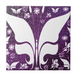 Floral Purple Butterflies Tile