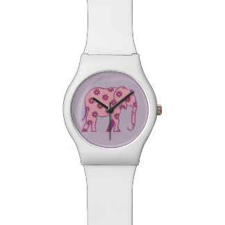 Floral Purple Cartoon Elephant Chic Girly White Wrist Watch