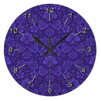 Floral purple decoration large clock