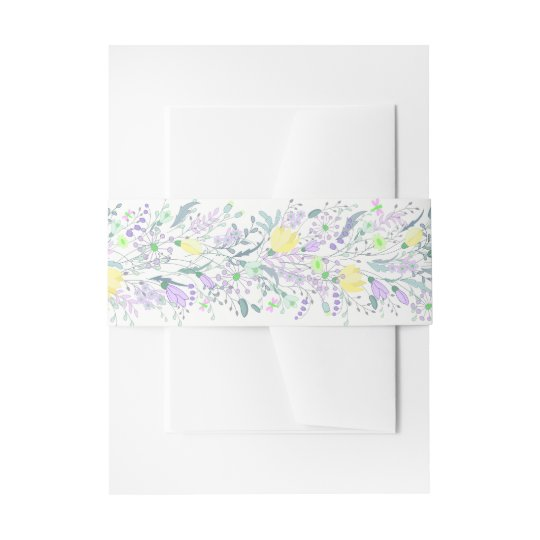 Floral Purple Lavender And Yellow Flower Wedding Invitation