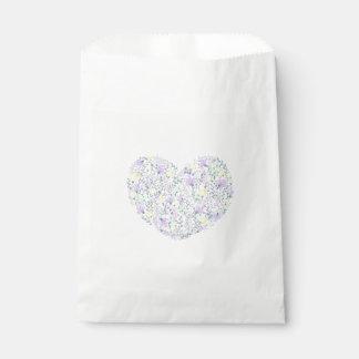 Floral Purple Lavender Heart - Wedding Party Favour Bags