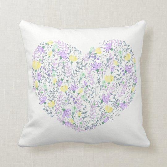 Floral Purple Lavender & Yellow Flowers Heart Love