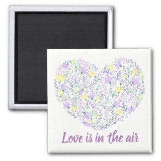 Floral Purple Lavender & Yellow Heart And Flowers Magnet