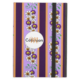 Floral Purple Orange Regency Stripes Personalized Case For iPad Air