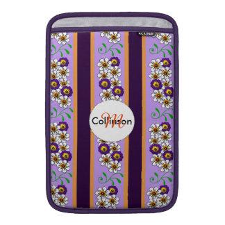 Floral Purple Orange Regency Stripes Personalized Sleeve For MacBook Air