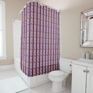 Floral Purple Orange Regency Stripes Shower Curtain