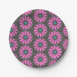 Floral - purple paper plate
