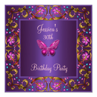 Floral Purple Pink Butterfly 30th Birthday Party 13 Cm X 13 Cm Square Invitation Card
