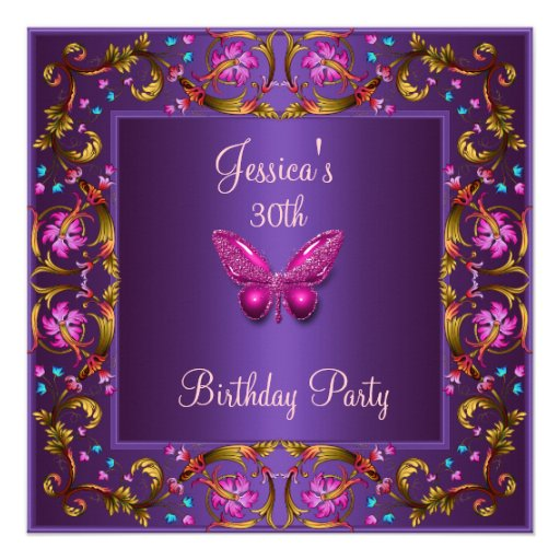 Floral Purple Pink Butterfly 30th Birthday Party Personalized Invitation
