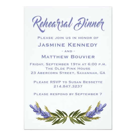 Floral Purple Rehearsal Dinner Lavender Flowers Card
