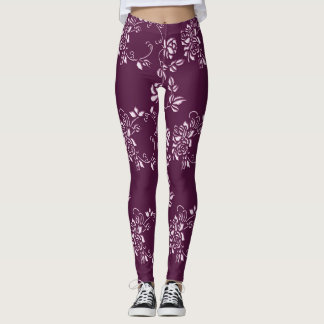Floral purple retro element leggings