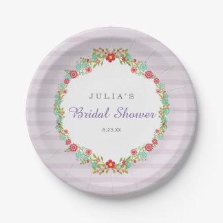 Floral Purple Stripes Bridal Shower Paper Plate