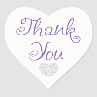 Floral Purple Thank You Heart Lavender Flowers Heart Sticker