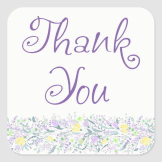 Floral Purple Thank You Heart Lavender Flowers Square Sticker