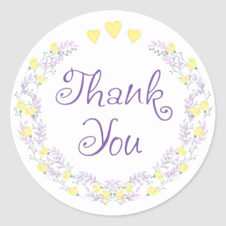 Floral Purple Thank You Lavender Yellow Flowers Classic Round Sticker