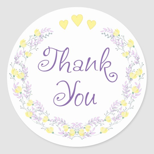 Floral Purple Thank You Lavender Yellow Flowers Classic