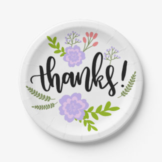 Floral Purple Thank You Watercolor Flowers Leaves Paper Plate
