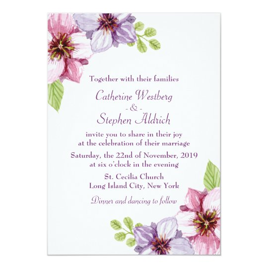 Floral Purple Watercolor Flower Wedding Card