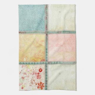 Floral Quilt Squares Square Tea Towel
