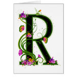 Floral R Greeting Card