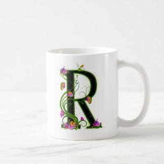 Floral R Classic White Coffee Mug