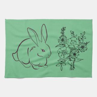 Floral rabbit tea towel