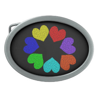 Floral Rainbow Love Hearts Belt Buckle