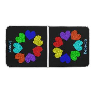 Floral Rainbow Love Hearts Custom Pong Table