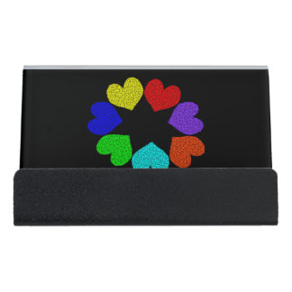 Floral Rainbow Love Hearts Desk Business Card Holder