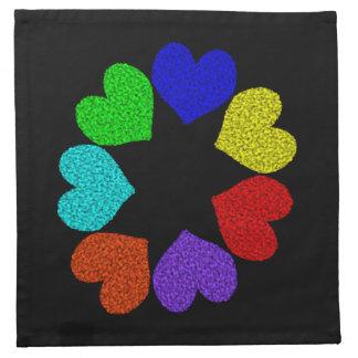 Floral Rainbow Love Hearts Napkin