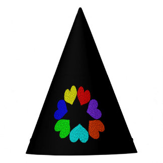 Floral Rainbow Love Hearts Party Hat