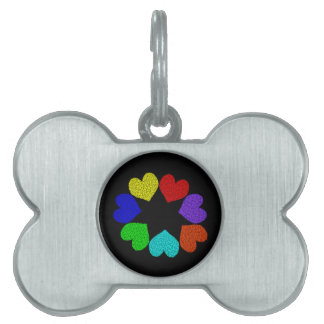 Floral Rainbow Love Hearts Pet Tag