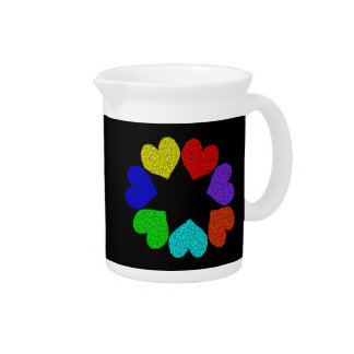 Floral Rainbow Love Hearts Pitcher