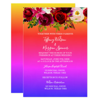 Floral Rainbow Same-Sex Marriage wedding Invite