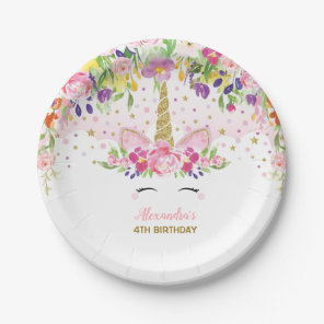 Floral Rainbow Unicorn Girl Birthday Party Plate