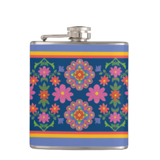Floral Rangoli Pattern Border on Blue Hip Flask