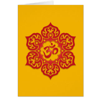 Floral Red and Yellow Aum Design Card